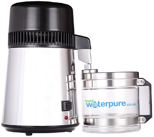 Make A Water Distiller ~ Stainless steel water distiller with glass collection jug