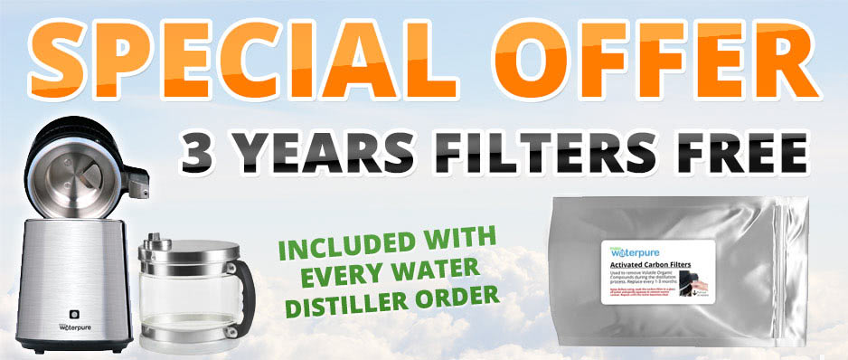 12 Carbon Filters Free when you purchase a Water Distiller